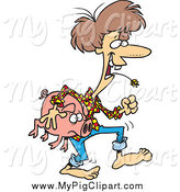 Swine Clipart of a Cartoon Brunette White Female Hillbilly Carrying a Pig by Toonaday