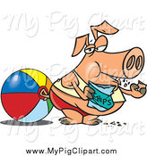 Swine Clipart of a Cartoon Fat Pig Eating Potato Chips on a Beach by Toonaday