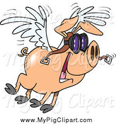 Swine Clipart of a Cartoon Flying Pig and Wearing Pilot Goggles by Toonaday