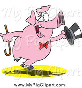 Swine Clipart of a Cartoon Pig Dancing and Performing by Toonaday