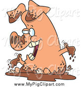 Swine Clipart of a Cartoon Pig in Mud by Ron Leishman