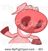 Swine Clipart of a Cartoon Pig Waving over a Sign by Julos