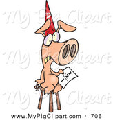 August 30th, 2015: Swine Clipart of a Cartoon Pig Wearing a Dunce Hat and Sitting on a Stool with a Math Problem by Toonaday
