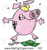 Swine Clipart of a Cartoon Piggy Bank with Cash and Coins by Toonaday