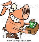 Swine Clipart of a Cartoon Rich Phat Pig Pulling Cash out of His Wallet by Toonaday