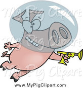 Swine Clipart of a Cartoon Space Pig with a Ray Gun by Toonaday