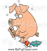 Swine Clipart of a Cartoon Stuffed Pig Eating Junk by Ron Leishman