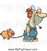 Swine Clipart of a Cartoon White Hillbilly Doctor with a Pig by Ron Leishman