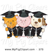Swine Clipart of a Cat, Pig and Dog Graduate Students Standing and Holding Diplomas by BNP Design Studio