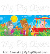 Swine Clipart of a Cat with an Accordian and Bear with a Book Waving at a Piggy in a Red Tram Car by Alex Bannykh