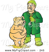 Swine Clipart of a Caucasian Veterinarian Attending to a Pig Standing in Barf by Snowy