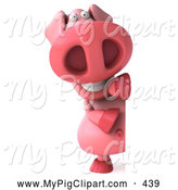 Swine Clipart of a Cheerful 3d Pig Character with a Blank Sign by Julos