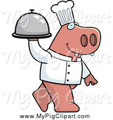 Swine Clipart of a Chef Pig Carrying a Covered Cloche Platter by Cory Thoman