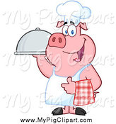 Swine Clipart of a Chef Pig Holding a Cloche Platter by Hit Toon