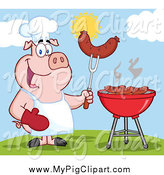 Swine Clipart of a Chef Pig Holding a Sausage on a Fork by a Bbq by Hit Toon