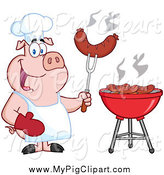 Swine Clipart of a Chef Pig Holding a Sausage on a Fork by Hit Toon