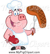 Swine Clipart of a Chef Pig Holding a Steak on a Bbq Fork by Hit Toon