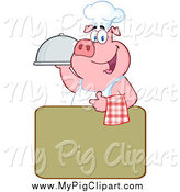 Swine Clipart of a Chef Pig over a Green Sign by Hit Toon