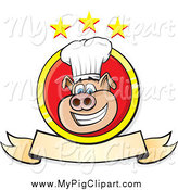Swine Clipart of a Chef Pig with a Banner and Stars by Paulo Resende