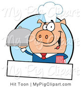 Swine Clipart of a Chef Piggy and Banner by Hit Toon