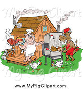Swine Clipart of a Chickens Running by a Cow and Pig Using a Smoker and Cooking Meat at a Bbq Shack by LaffToon