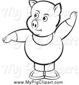 Swine Clipart of a Chubby Black and White Pig with One Hand up by Lal Perera