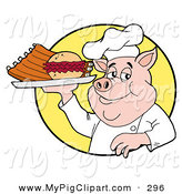 May 29th, 2013: Swine Clipart of a Chubby Chef Pig Holding a Pulled Pork Burger and Ribs on a Plate by LaffToon
