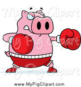 Swine Clipart of a Chubby Pig Boxer Punching by Cory Thoman