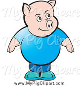 Swine Clipart of a Chubby Pig in a Blue Shirt and Jeans by Lal Perera
