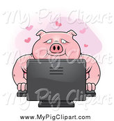 Swine Clipart of a Chubby Pig Using a Desktop Computer for Online Dating by Cory Thoman
