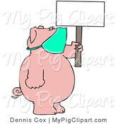 Swine Clipart of a Chubby Pig Wearing a Mask and Holding up a Blank Sign, Avoiding the Swine Flu by Djart