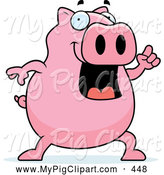 Swine Clipart of a Chubby Pink Pig Holding up a Finger and Expressing an Idea by Cory Thoman
