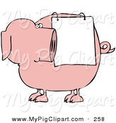 Swine Clipart of a Chubby Pink Pig Looking Back at a Sign Draped on His Side by Djart