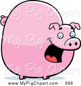 September 13th, 2015: Swine Clipart of a Chubby Pink Pig Smiling by Cory Thoman