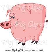 Swine Clipart of a Chubby Smiling Cute Pink Spotted Pig by Yayayoyo