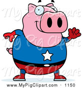 Swine Clipart of a Chubby Super Hero Pig Waving by Cory Thoman