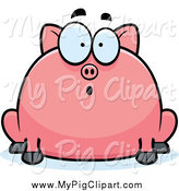 Swine Clipart of a Chubby Surprised Pink Pig by Cory Thoman