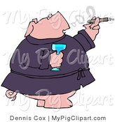 Swine Clipart of a Chubby Wealthy Pig in a Robe, Drinking Champagne and Smoking a Cigar by Djart