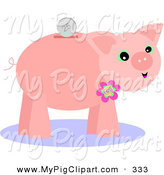 Swine Clipart of a Coin over a Pink Piggy Bank with a Flower on White by