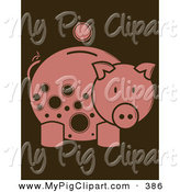 Swine Clipart of a Coin over a Pink Piggy Bank with Brown Spots Looking Right by Randomway