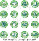 Swine Clipart of a Collection of Sixteen Green Food Icons of a Martini, Pigs, Fish, Juice, Kebobs, Corn, Wine, Beer, Chicken, Breakfast, Fruit, Bread, Meal, Burger and Cheese by AtStockIllustration