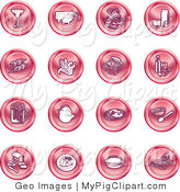 Swine Clipart of a Collection of Sixteen Red Food Icons of a Martini, Pigs, Fish, Juice, Kebobs, Corn, Wine, Beer, Chicken, Breakfast, Fruit, Bread, Meal, Burger and Cheese by AtStockIllustration