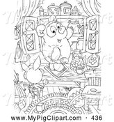 Swine Clipart of a Coloring Page of a Black and White Pig, Bear and Honey Coloring Page Outline by Alex Bannykh