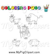 Swine Clipart of a Coloring Page of a Professor Farmer and Animals by Hit Toon