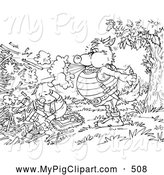 Swine Clipart of a Coloring Page of a Wolf Blowing down a Pig by Alex Bannykh