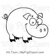 Swine Clipart of a Coloring Page Outline of a Happy Smiling Sow by Hit Toon