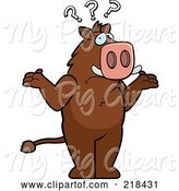 Swine Clipart of a Confused Cartoon Boar Shrugging Under Question Marks by Cory Thoman