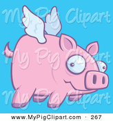 Swine Clipart of a Confused Pink Pig Flying in a Blue Sky to the Right by John Schwegel