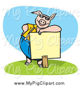 Swine Clipart of a Cool Pig Wearing Shades and Leaning on a Blank Sign by Any Vector