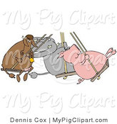 Swine Clipart of a Cow, Elephant and Pig Swinging Together on a Swing Set on a Playground by Djart